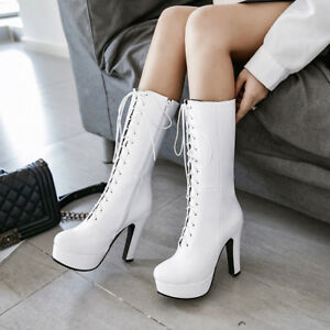 Women Fashion Side Zipper Lace Up Block High Heels Platform Mid Calf Boots Shoes