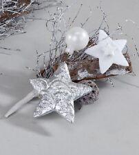 Tischdeko, Weihnachten, 16 cm weiss-silber, graues Reisiggeflecht
