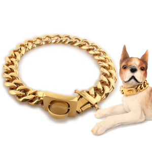 19mm Large Dog Pet P Choke Chain Training Dog Collars Gold Plated Twist Necklace