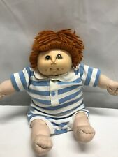 "Cloth Girl Doll 17"" with Plastic Head - Cabbage Patch Look aLike Orange Hair '84"