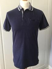 💙PETER WERTH Mens Polo Shirt Navy Blue Striped Collar Size Medium💙