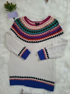 Talbots Lambswool Blend Colorful and White Sweater Festive Size Small Petite
