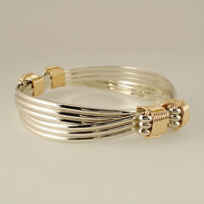 Elephant hair bracelet 4 knot 6 strand Sterling Silver and Yellow Gold Filled