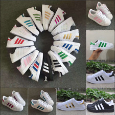 Women Ladies Striped Lace Up Sport Running Sneakers Trainer Mens Shell Toe Shoes