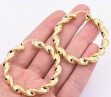 """2 1/4"""" 55mm Retorcido Diamante Corte Aro Pendientes de Plata de revestido de oro amarillo 14K 925"""