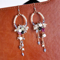 Korean Women Crystal Rhinestone Pearl Flower Dangle Stud Earrings Jewelry New