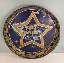 Rare Vintage Kuntz Beverages Star Tin Litho Beer Tray In Used Condition