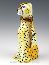 Limoges France Peint Main Chamart Cheetah Cat With Chain Collar Trinket Box Mint