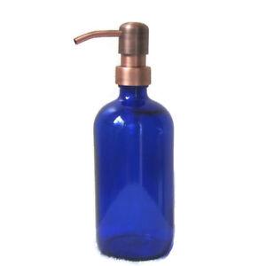 Cobalt Blue Glass Soap Dispenser 16 oz with Antique Copper Soap Dispenser Pump