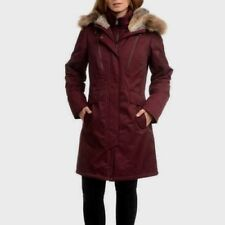 1 Madison Expedition Women's Parka Coat Size 1X WINE Faux Fur Hood NWT