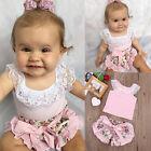 Cute Newborn Baby Girl Lace Tops T-shirt+Floral Shorts Pants Outfits Set Sunsuit