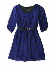 IZ Byer Junior's Size Medium Blue Black 3/4 Sleeve Skater Dress NEW