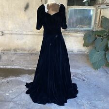 Antique 1930s Black Silk Velvet Maxi Dress Gown Short Sleeved Goth Vintage