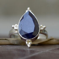 Pear Faceted Dark Blue Sapphire Gemstone 925 Sterling Silver Gift Ring Size 6