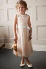 Little Mistress Niñas Color Rosa Pálido adornado de Tul Vestido Talla 9-10