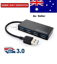 Fast reader USB 3.0 HUB 4 Port External Portable Built-in Cable PCLaptopMac AUS
