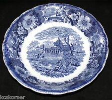 "Flow Blue Antique W. Adams Venetian Scenery Transferware 8.75"" Bowl"