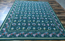 8'x10 New Stunning Needlepoint Country French floral Hand Knotted wool Green rug