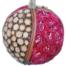 Wood Slice Mosaic Leaf Decorative Ball Ornament Natural Christmas Tree New 528f