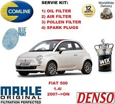 für Fiat 500 1.4 2007> nach POLLEN ÖL LUFT FILTER + Zündkerzen Wartungssatz
