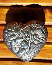 Silver Heart Jewelry Box Flower Engraved Red Velvet Interior - Beautiful!