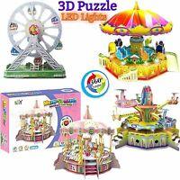 3D Toy Puzzle Building Set, Amusement Park With Motor Lights, Sound 360' Rotate