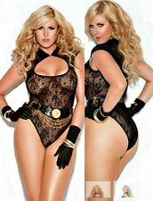 "Black Lace Teddy Lingerie O/S Queen 40-44"" D/DD Cut Out Neckline Plus Size"