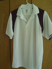 Badger Sport Ss Polo Shirt Men's M- White- Burgundy 100% Polyester - Euc!