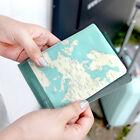Mint Blue World Map Passport Holder Cover Travel Wallet Card Pocket Case wallet