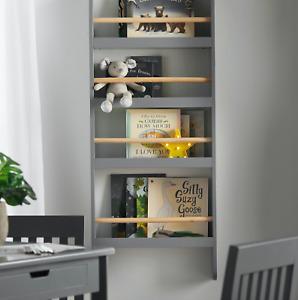 Haus Projekt Children's Open Wall Bookcase, Kid's Wall Mounted Bookshelf, Grey