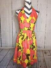 Trina Turk Halter Dress Pink Coral Yellow Lined 100% Cotton Floral Sundress 4