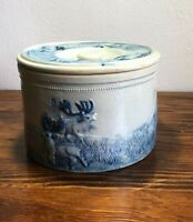 Antique Stoneware Butter Cheese Crock  Blue Glaze Hunting Elk  Design #3