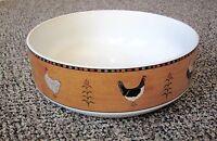 """Sakura Country Quartet Round Vegetable Serving Bowl Rooster Warren Kimble 9 3/4"""""""