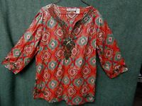 New Direction Tunic Blouse Top Shirt Womens size L multicolor print embroidered