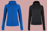 Ex M*S Goodmove Power Stretch Zip Up Fleece Jacket in Blue and Black Size 6 - 24