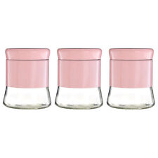 Set of 3 800ml Pink Stainless Steel Glass Coffee Sugar Tea Kitchen Storage Jars