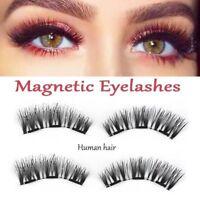 SKONHED 4pcs 100% cheveux humains triple magnétique extension épaisse faux cils