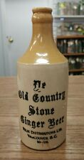 ANTIQUE YE OLD COUNTRY STONE GINGER BEER VANCOUVER B.C. STONE GINGER BEER BOTTLE