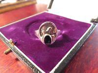 Undefinierbarer 925 Silber Ring Vintage Schwarz Email / Onyx 70er Organisch