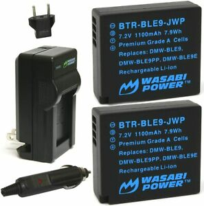 Battery (2-Pack) and Charger for Panasonic DMW-BLE9, DMW-BLG10 and Lumix DMC-GF3