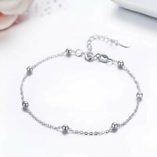 New! Solid 925 Sterling Silver Beads Anklet 25 cm