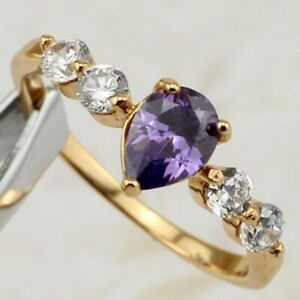 Size7.5 9 Elegant Amethyst Purple Pear Topaz Jewelry Rose Gold Filled Ring R2362