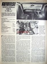 1971 TOYOTA 'Corolla 1200 SL' Car Auto Report Clipping (5-Sided Cutting)