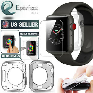 For Apple Watch Series SE/6/5/4 40mm/44mm Tempered Glass Screen Protector+Case