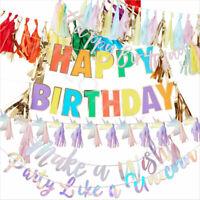 Rainbow Unicorn Party Decorations Bunting Tassel Garland Girls Birthday Supplies