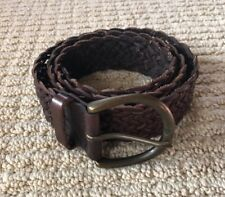 NEW ABERCROMBIE & FITCH BROWN LEATHER BRAIDED BELT SIZE M/L