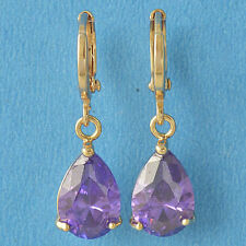 9K Yellow Gold Filled Amethyst Purple CZ Pear Shaped Tear Drop Dangle Earrings