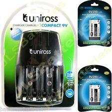 UNIROSS Chargeur De Batterie Secteur 2 x 9V DIGIMAX 280mAh PP3 280 mAh Piles