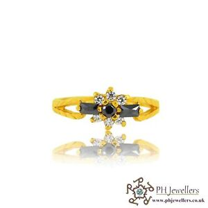22ct 916 Indian Yellow Gold Ring with Black and CZ Stones Size L SR121