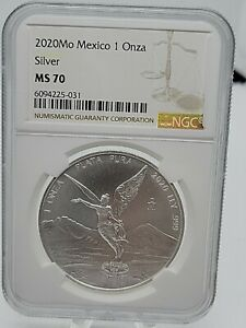 2020 Mexico 1oz UNC BU Silver Libertad Coin NGC MS70 ~ PERFECT Only 300k Minted!